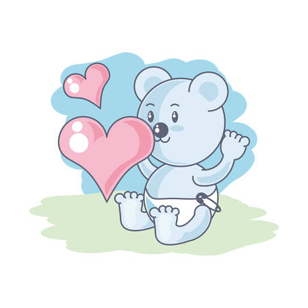 cute bear baby animal and hearts love vector illustration design