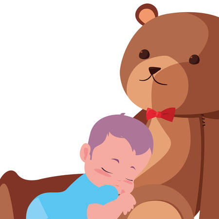 baby boy with toy cute bear vector illustration