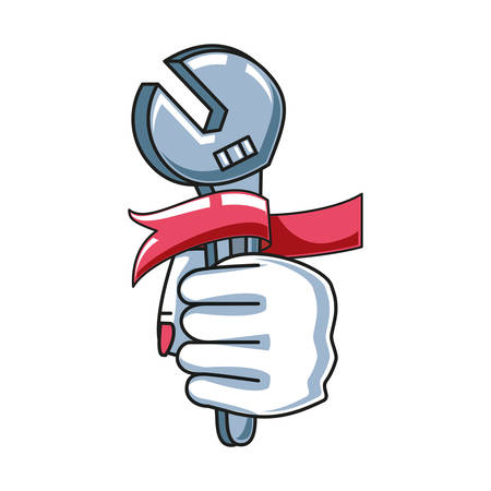 wrench with hand fist power female vector illustration design
