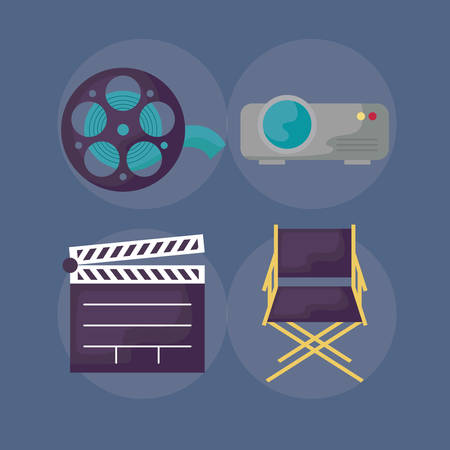 clapboard with set icons cinema vector illustration design Ilustração