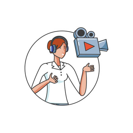 cute young woman with earphones and video camera vector illustration design Иллюстрация