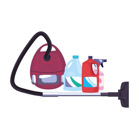vacuum machine bottle cleaning products and supplies vector illustration