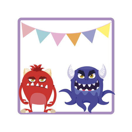 square frame with funny monsters and garlands hanging vector illustration design