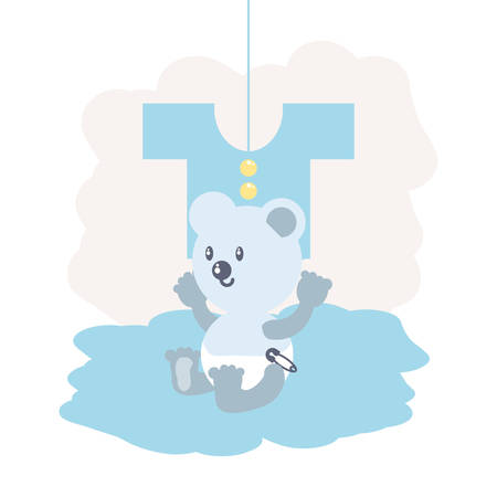 cute bear baby animal and clothes for baby vector illustration design Çizim