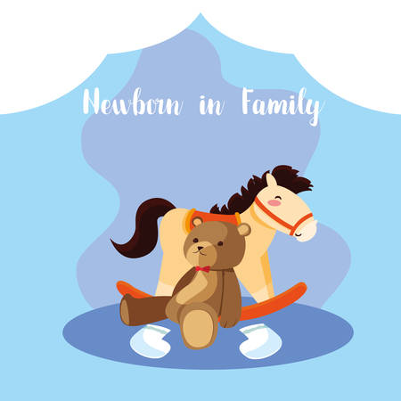 newborn in family card with cute teddy bear and wooden horse vector illustration design