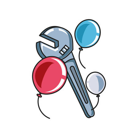 wrench key tool with balloons helium vector illustration design Illustration
