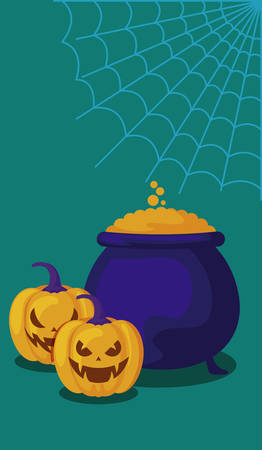 pumpkin with cauldron and icons halloween vector illustration