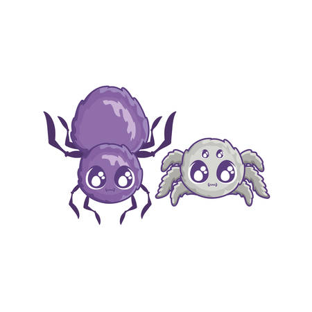 creepy spiders animals on white background vector illustration design Vettoriali