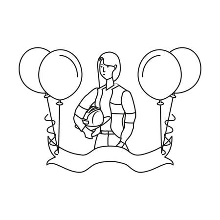 female firefighter worker with balloons helium labor day vector illustration design