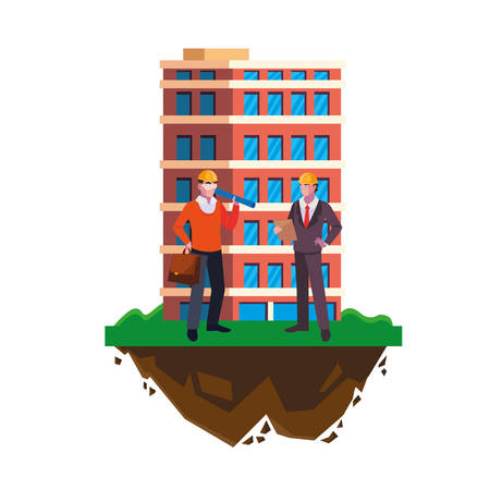 architect builder with engineer and building vector illustration design