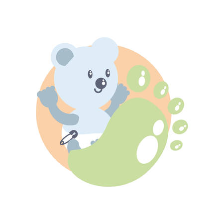 cute bear baby and footprint decoration vector illustration design