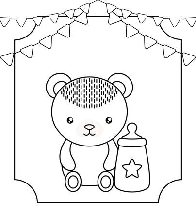 cute little bear baby with bottle milk and garlands hanging vector illustration design