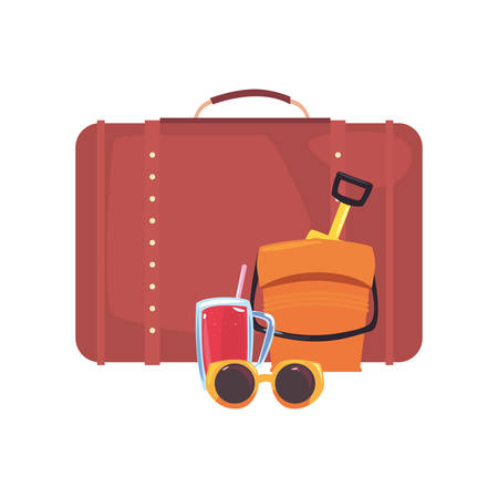 suitcase bucket juice and sunglasses vacations tropical summer vector illustration