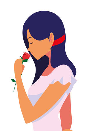 beautiful woman with flower rose vector illustration