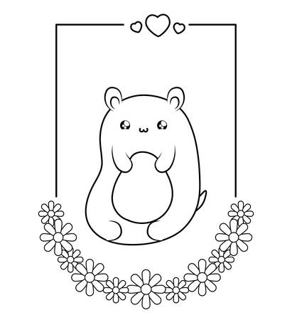 cute bear baby in card   style vector illustration design