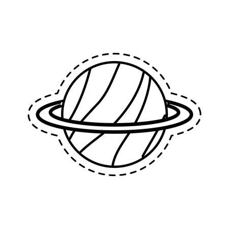 patch of saturn planet applique vector illustration design