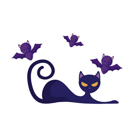 cat feline animal of halloween with bats flying vector illustration design