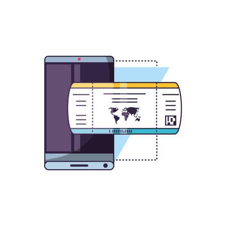 smartphone with ticket travel app vector illustration design Vettoriali
