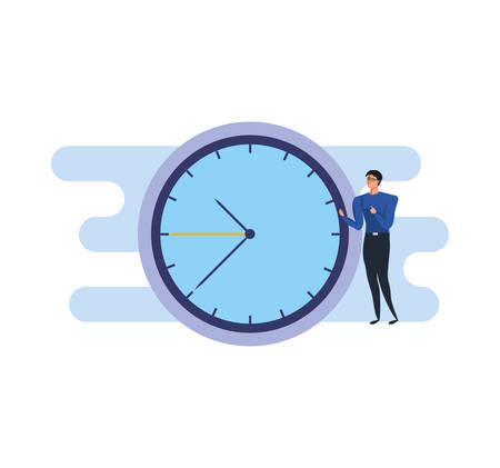 Hombre de negocios elegante con reloj de tiempo, diseño de ilustraciones vectoriales
