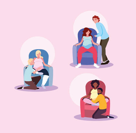 group of pregnant wives sitting in sofa with husband vector illustration design