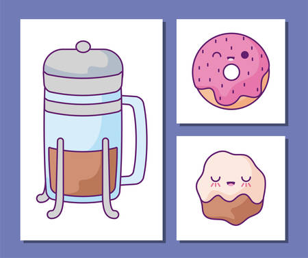 cartoons icon set design, Breakfast food meal fresh product natural store and cooking theme Vector illustration Vetores