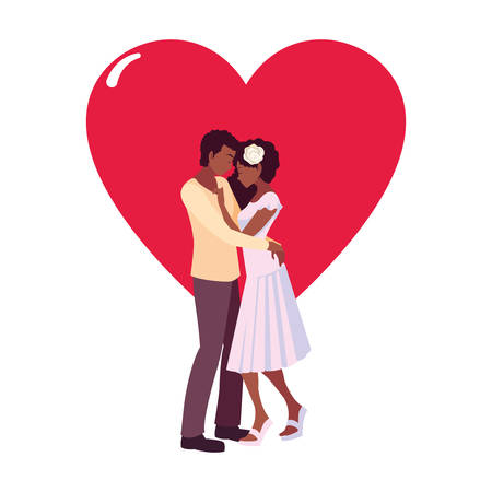 romantic couple hugging love heart vector illustration