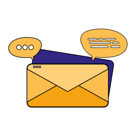 Envelope and bubbles design, Email mail message letter marketing communication card and document theme Vector illustration