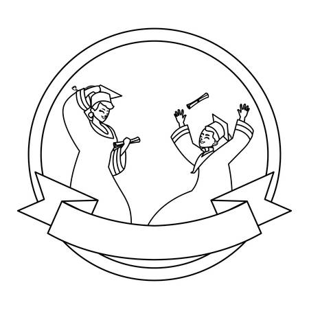 beautiful women students graduated celebrating in circular frame vector illustration Illustration