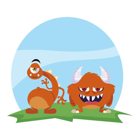 funny monsters couple in the field characters colorful vector illustration design Illustration