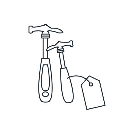 hammer tool with price tag hanging vector illustration design