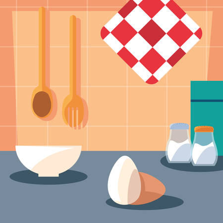 pastry ingredients with dish kitchen scene vector illustration
