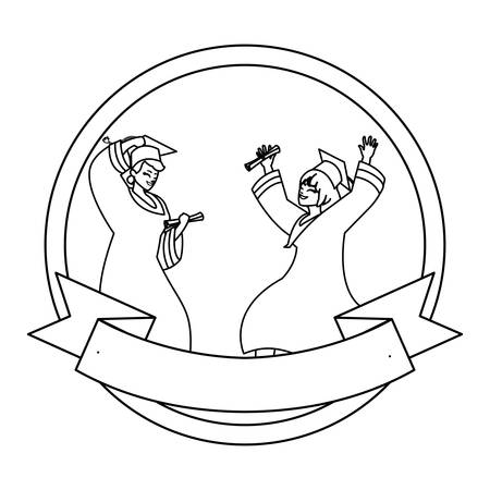 young couple students graduated celebrating in circular frame vector illustration