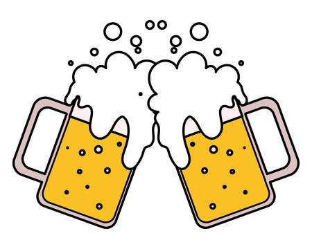 mug of beer in white background vector illustration design  イラスト・ベクター素材