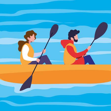 Pareja joven en canoa deporte extremo, diseño de ilustraciones vectoriales Ilustración de vector