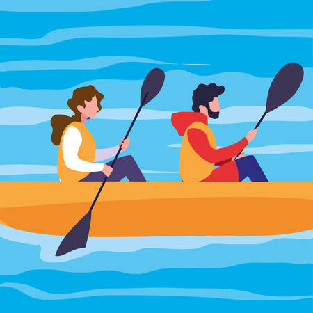 young couple in canoe sport extreme vector illustration design