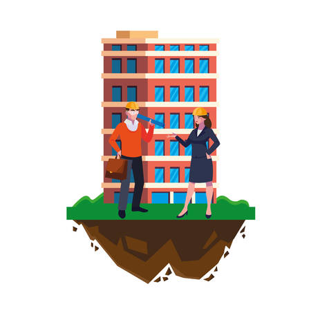 architect builder with female engineer and building vector illustration design
