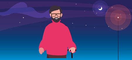 old man with walk stick at night vector illustration