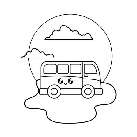 van vehicle kawaii in the beach vector illustration design