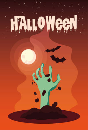 poster of halloween with hand zombie vector illustration design