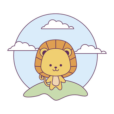 cute lion animal in landscape natural isolated icon vector illustration design
