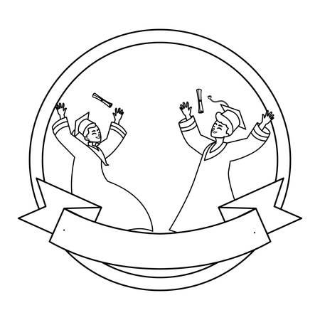 happy students boys graduated celebrating in circular frame vector illustration