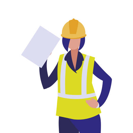 Builder avatar woman with yellow helmet design of Construction working maintenance worker job workshop repairing and progress theme Vector illustration