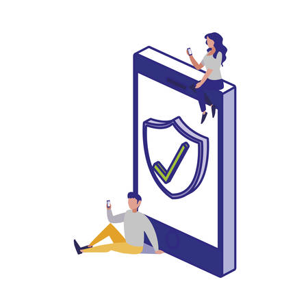 Smartphone and people design of Security system warning protection danger web alert and safe theme Vector illustration Çizim