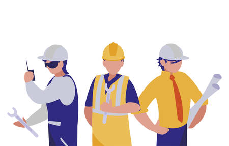 Builders architects and engineers men design of Construction working maintenance worker job workshop repairing and progress theme Vector illustration