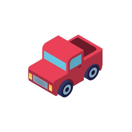 Camión rojo sobre fondo blanco, diseño de ilustraciones vectoriales