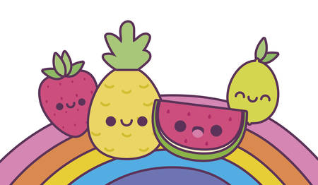 rainbow and fruits cartoons design, Kawaii expression cute character funny and emoticon theme Vector illustration