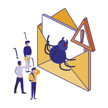 Envelope and men design of Security system warning protection danger web alert and safe theme Vector illustration