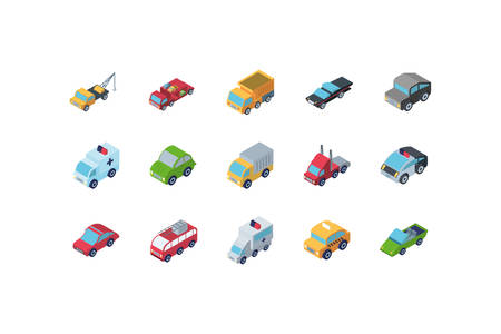Isometric cars icon set design, Transportation vehicle transport wheel speed traffic road and travel theme Vector illustration