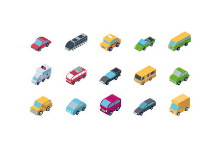 Isometric cars icon set design, Transportation vehicle transport wheel speed traffic road and travel theme Vector illustration Zdjęcie Seryjne - 136662039