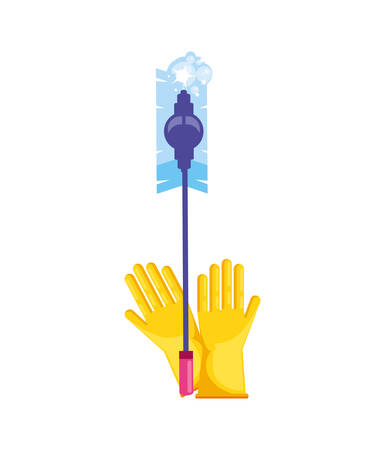 Cleaning gloves and mop design, Object home work hygiene equipment domestic and housework theme Vector illustration